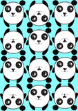 Blue pattern background texture pattern of cute pandas Royalty Free Stock Image
