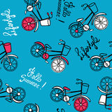 Blue pattern with bicycles. Royalty Free Stock Photos