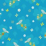 Blue pattern with bird, butterfly and flower. royalty free illustration