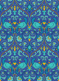 Blue pattern with birds. Stock Photos