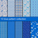 10 blue pattern collection Royalty Free Stock Photo