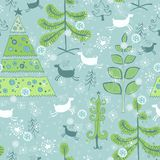 Blue pattern with color christmas trees Royalty Free Stock Photography