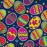Blue pattern with colorful Easter eggs. Royalty Free Stock Photos