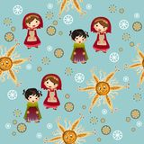 Blue pattern with cute children Royalty Free Stock Image