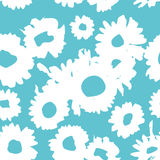 Blue pattern with daisies. Millefleurs liberty style. Ditsy floral pattern for printing on fabric,  women`s clothes Royalty Free Stock Image