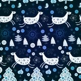 Blue pattern with deers for Christmas Royalty Free Stock Photo
