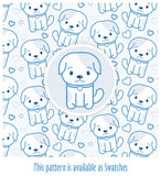 Blue pattern with dogs drawn in kawaii style with -applied swatch. Blue dog`s puppy and pattern with dogs drawn in kawaii style & -applied swatch in EPS file Royalty Free Stock Image