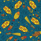 Blue pattern with fishes in a chaotic manner Stock Photography