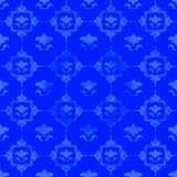 Blue pattern with floral decorations. Vintage design Stock Photography