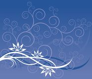 Blue pattern from flowers. The figure representing a pattern from curls and flowers of white and dark blue color on a blue and lilac background Royalty Free Stock Photography