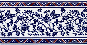 Blue Pattern Flowers Tile stock photography