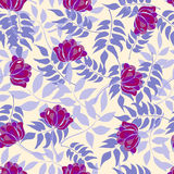 Blue pattern with forest leaves and purple flowers Royalty Free Stock Image