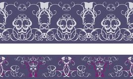 Blue pattern frieze. Floral ornamented Stock Photos