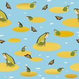 Blue pattern with frog and butterfly. royalty free illustration