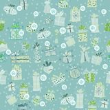 Blue pattern with gift boxes Stock Photos