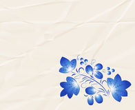 Blue  pattern in the Gzhel style on the  crumpled paper. Stock Images