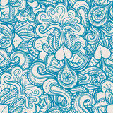 Blue pattern with hearts and flowers Stock Photography