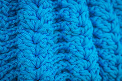 Blue pattern knitting wool Royalty Free Stock Photos