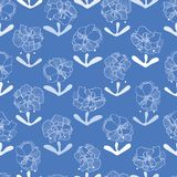 Blue pattern with lace flowers. stock illustration