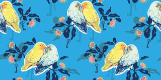 Blue pattern with love birds. royalty free illustration