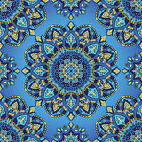 Blue pattern of mandalas. Oriental seamless pattern of mandalas. Vector blue background. Template for textile, carpet, wallpaper, shawls Stock Images