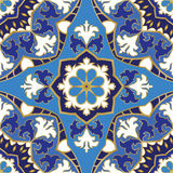 Blue pattern of mandalas. Oriental seamless pattern of mandalas. Vector blue background. Template for textile, carpet, wallpaper, shawls Stock Photography