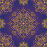 Blue pattern with mandalas. Vector seamless pattern with stylized floral mandalas. Ornament on a blue background. Oriental template for design textiles Stock Photos