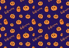 Blue Pattern with pumpkins for halloween.  royalty free illustration