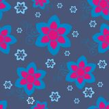 Blue pattern with rose insertion Royalty Free Stock Photos