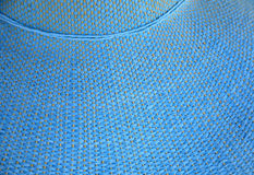 Blue Pattern on Sun Hat. Blue pattern on a sun hat showing the texture of the cloth Royalty Free Stock Image