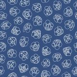 Blue pattern with white blossom. vector illustration