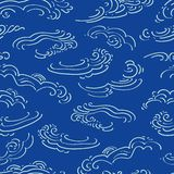 Blue pattern with white clouds. royalty free illustration