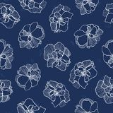 Blue pattern with white lace flower. vector illustration