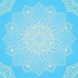 Blue pattern of white mandalas. Oriental seamless pattern of mandalas. Vector blue background. Template for textile, carpet, wallpaper, shawls Stock Image