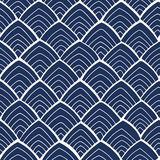 Blue pattern with white ornament. royalty free stock images