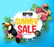 Blue Patterned Background with Limited Offer Summer Sale Message Together with Realistic Flamingo. And Toucan Vector Illustration. For Promotional Purposes Stock Photography