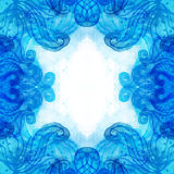 Blue patterned background painted with watercolor Stock Image