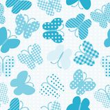 Blue patterned butterflies seamless Stock Image