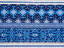 Blue patterned fabric Stock Photo