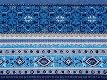 Blue patterned fabric Stock Photos