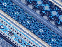 Blue patterned fabric Stock Image