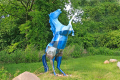 Blue Patterned Horse Sculpture Stock Photo