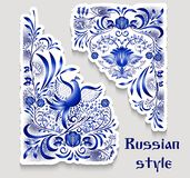 Blue patterns on a corner with birds and flowers in the style of the national porcelain painting. Angular floral elements stickers. Vector illustration stock illustration