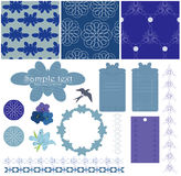 Blue patterns. Frames and elements for design stock illustration