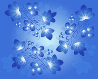 Blue  patterns in the Gzhel style on the blue - light gradient fond. Royalty Free Stock Images