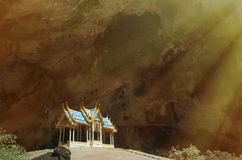 Blue pavilion constructed in the big cave Royalty Free Stock Images