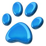 Blue paw. 3d illustration of blue paw Royalty Free Stock Photo