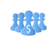 Blue pawns Team protect money Royalty Free Stock Photography