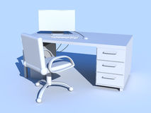 Blue PC Workplace Royalty Free Stock Photography