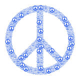 Blue Peace Sign. Formed by many small peace symbols. Illustration on white background Stock Image